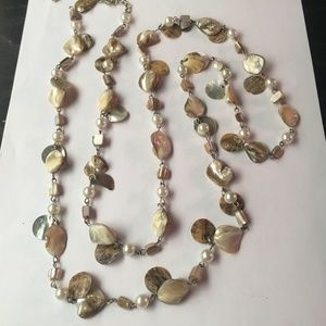 Lane Bryant Long Beaded Necklace, Shells and Beads